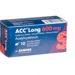ACC LONG 600 mg 10 Tablets- For Treatment of Acute & Chronic Cough Bronchitis Cold Flu Sore Throat