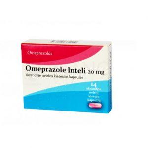 Omeprazole Inteli 20 mg 14 tablets - Delayed Release Acid Reflux Heartburn Reducer