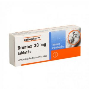 Brontex 30mg 20 Tablets - For Treatment of Acute & Chronic Cough Bronchitis Cold Flu Core Throat