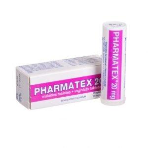 Pharmatex 20mg - benzalkonium chloride 12 contraceptive vaginal tablets