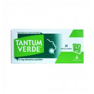 Tantum Verde 20 Pastiles 3mg - Instant Sore Throat Relief, Mouth Antiseptic